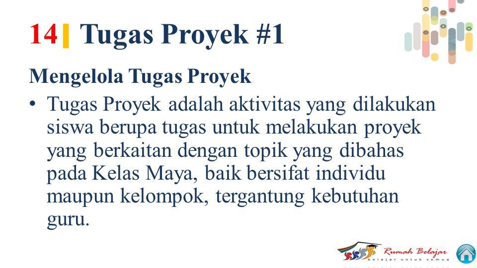 14 | Tugas Proyek #1 Mengelola Tugas Proyek Tugas Proyek adalah aktivitas yang dilakukan siswa berupa tugas untuk melakukan proyek yang berkaitan deng