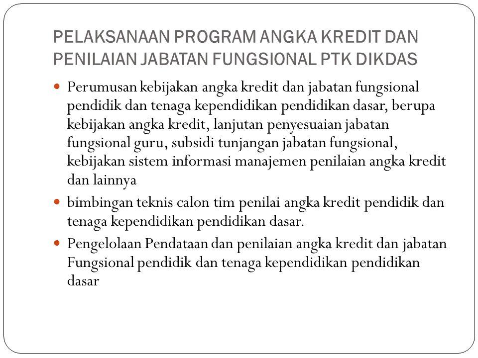 PELAKSANAAN PROGRAM ANGKA KREDIT DAN PENILAIAN JABATAN FUNGSIONAL PTK DIKDAS Perumusan kebijakan angka kredit dan jabatan fungsional pendidik dan tena