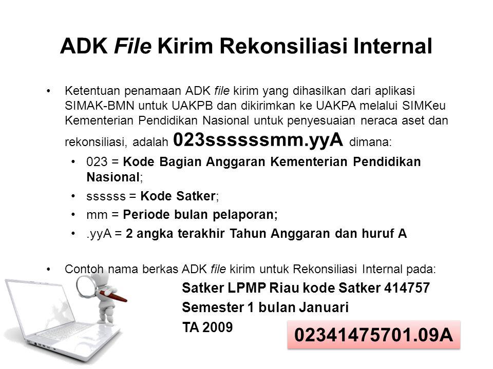 ADK File Kirim Rekonsiliasi Internal Ketentuan penamaan ADK file kirim yang dihasilkan dari aplikasi SIMAK-BMN untuk UAKPB dan dikirimkan ke UAKPA mel
