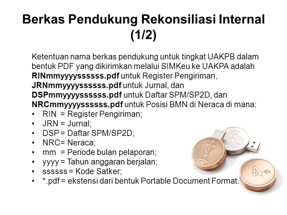 Berkas Pendukung Rekonsiliasi Internal (1/2) Ketentuan nama berkas pendukung untuk tingkat UAKPB dalam bentuk PDF yang dikirimkan melalui SIMKeu ke UA