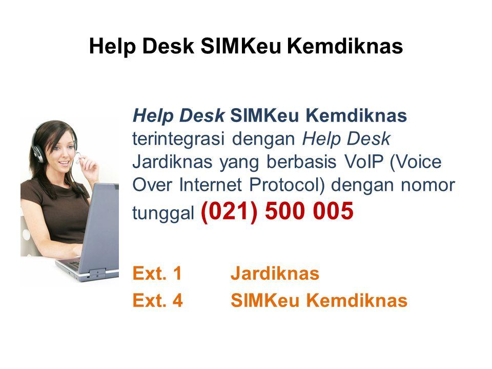 Help Desk SIMKeu Kemdiknas Help Desk SIMKeu Kemdiknas terintegrasi dengan Help Desk Jardiknas yang berbasis VoIP (Voice Over Internet Protocol) dengan