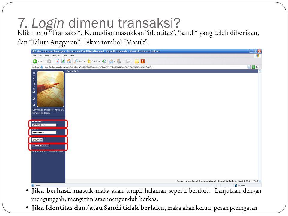 Klik menu Transaksi .