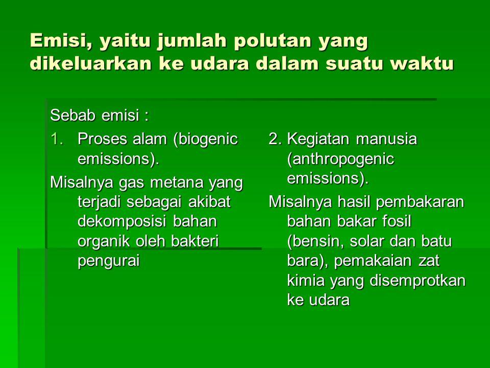 Emisi, yaitu jumlah polutan yang dikeluarkan ke udara dalam suatu waktu Sebab emisi : 1.Proses alam (biogenic emissions). Misalnya gas metana yang ter