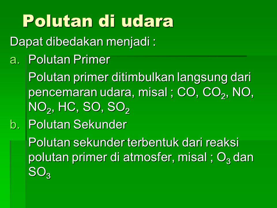 Polutan di udara Polutan di udara Dapat dibedakan menjadi : a.Polutan Primer Polutan primer ditimbulkan langsung dari pencemaran udara, misal ; CO, CO