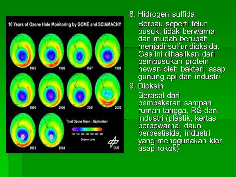 8. Hidrogen sulfida Berbau seperti telur busuk, tidak berwarna dan mudah berubah menjadi sulfur dioksida. Gas ini dihasilkan dari pembusukan protein h
