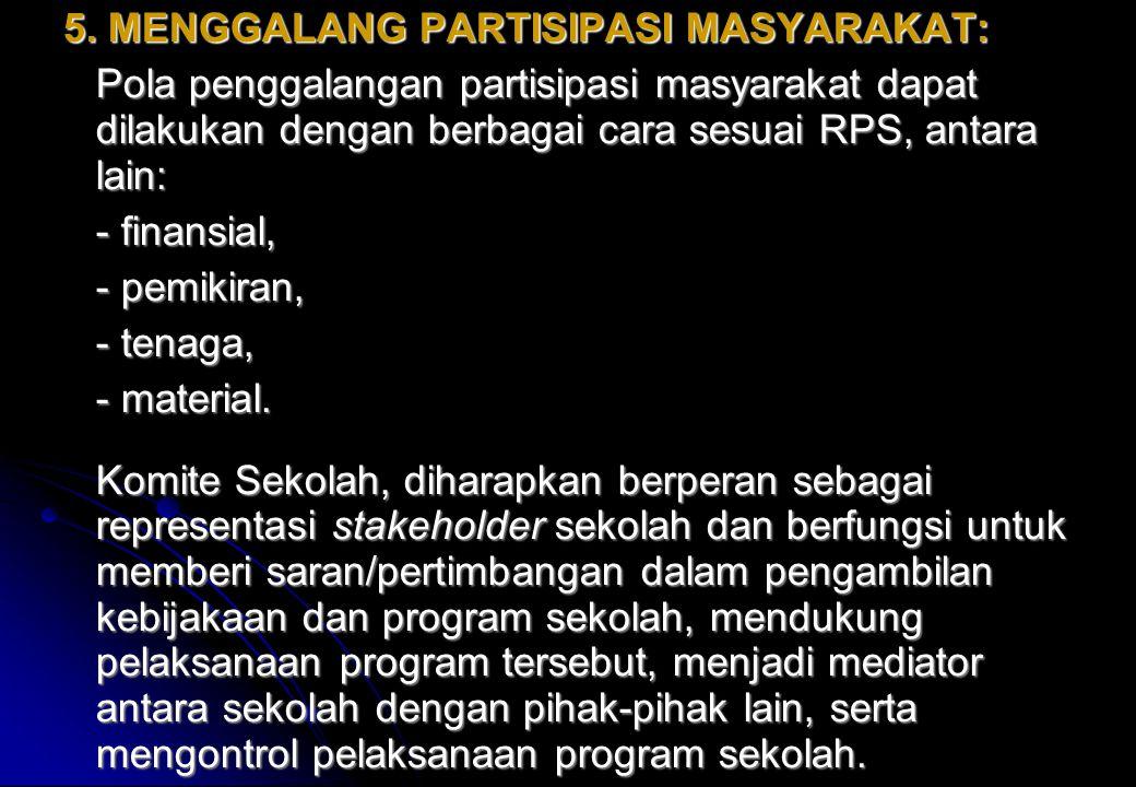 5. MENGGALANG PARTISIPASI MASYARAKAT: Pola penggalangan partisipasi masyarakat dapat dilakukan dengan berbagai cara sesuai RPS, antara lain: - finansi