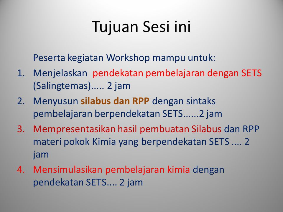 Tujuan Sesi ini Peserta kegiatan Workshop mampu untuk: 1.Menjelaskan pendekatan pembelajaran dengan SETS (Salingtemas).....
