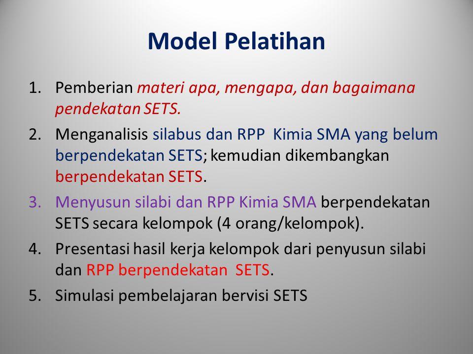 Model Pelatihan 1.Pemberian materi apa, mengapa, dan bagaimana pendekatan SETS.