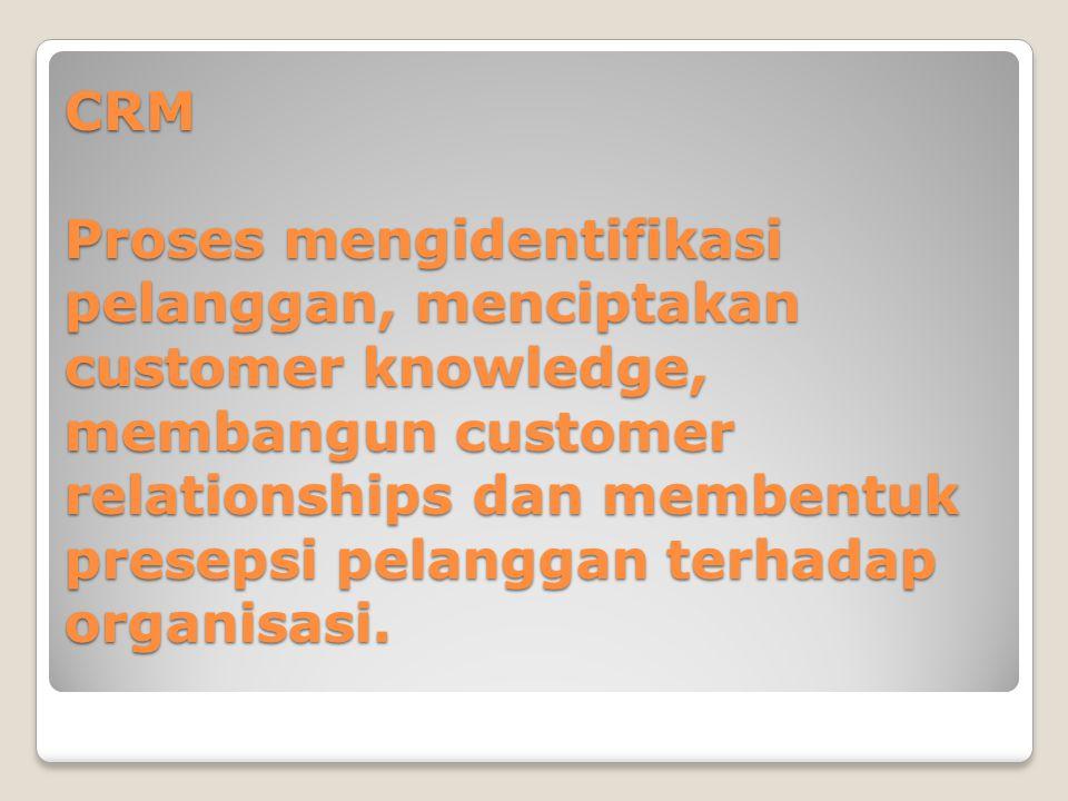 CRM Proses mengidentifikasi pelanggan, menciptakan customer knowledge, membangun customer relationships dan membentuk presepsi pelanggan terhadap organisasi.