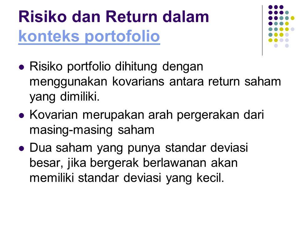 Risiko dan Return dalam konteks portofolio konteks portofolio Risiko portfolio dihitung dengan menggunakan kovarians antara return saham yang dimiliki