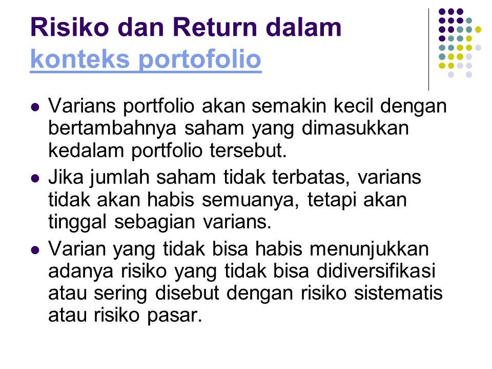 Risiko dan Return dalam konteks portofolio konteks portofolio Varians portfolio akan semakin kecil dengan bertambahnya saham yang dimasukkan kedalam p