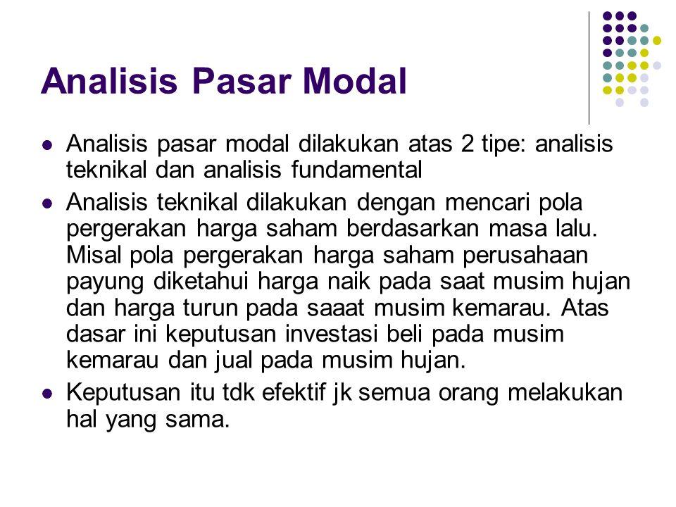 Analisis Pasar Modal Analisis pasar modal dilakukan atas 2 tipe: analisis teknikal dan analisis fundamental Analisis teknikal dilakukan dengan mencari