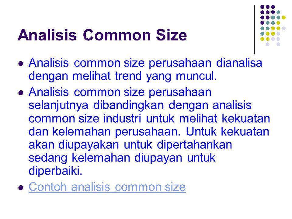 Analisis Common Size Analisis common size perusahaan dianalisa dengan melihat trend yang muncul. Analisis common size perusahaan selanjutnya dibanding