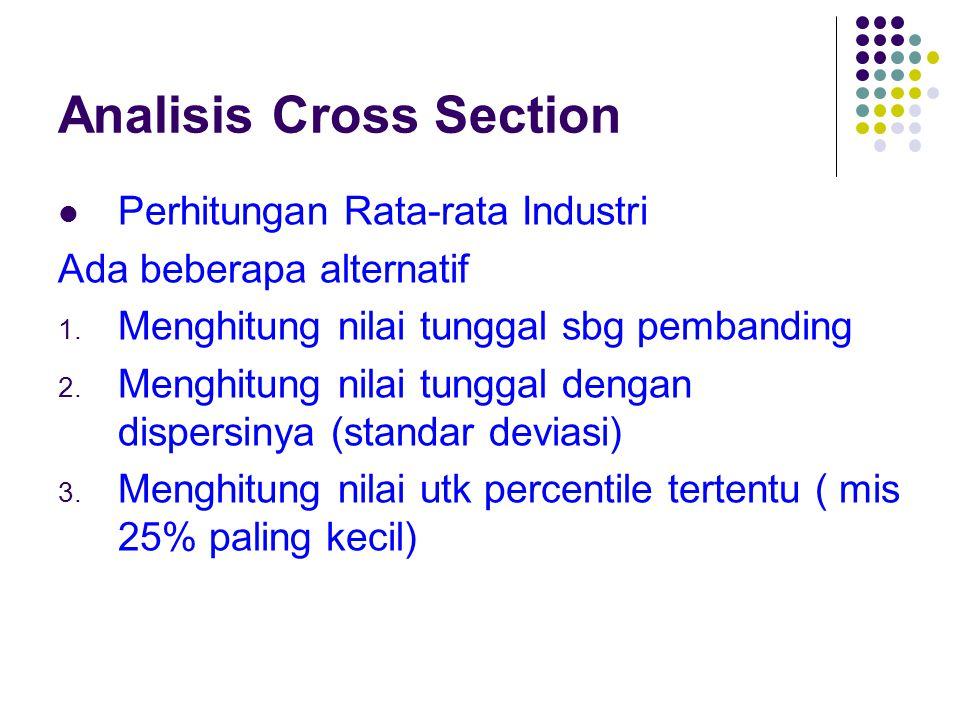 Analisis Cross Section Perhitungan Rata-rata Industri Ada beberapa alternatif 1. Menghitung nilai tunggal sbg pembanding 2. Menghitung nilai tunggal d