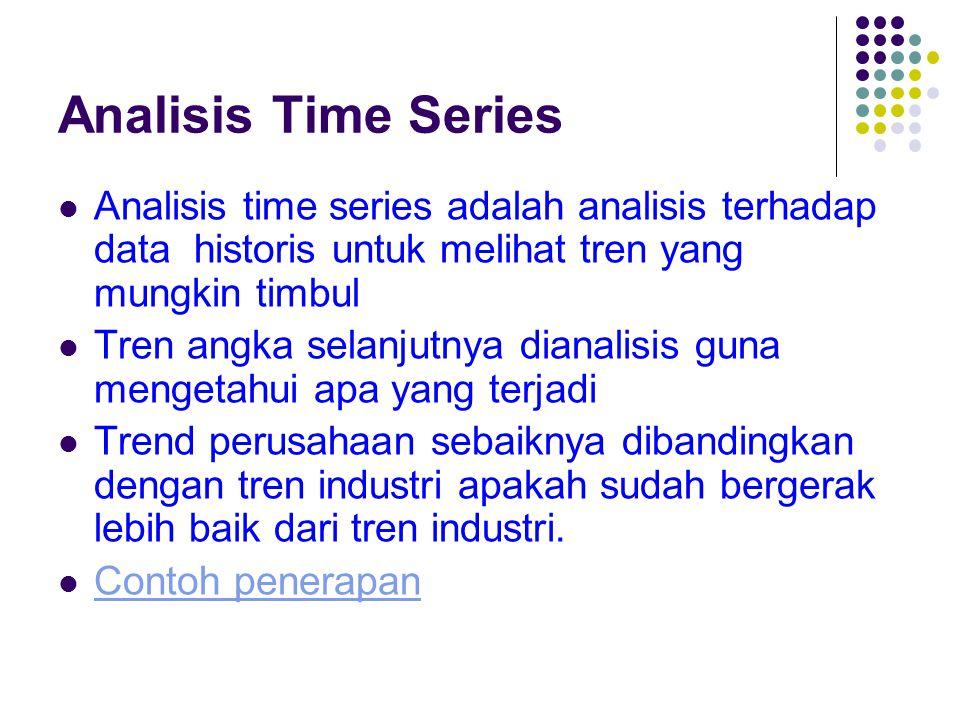 Analisis Time Series Analisis time series adalah analisis terhadap data historis untuk melihat tren yang mungkin timbul Tren angka selanjutnya dianali
