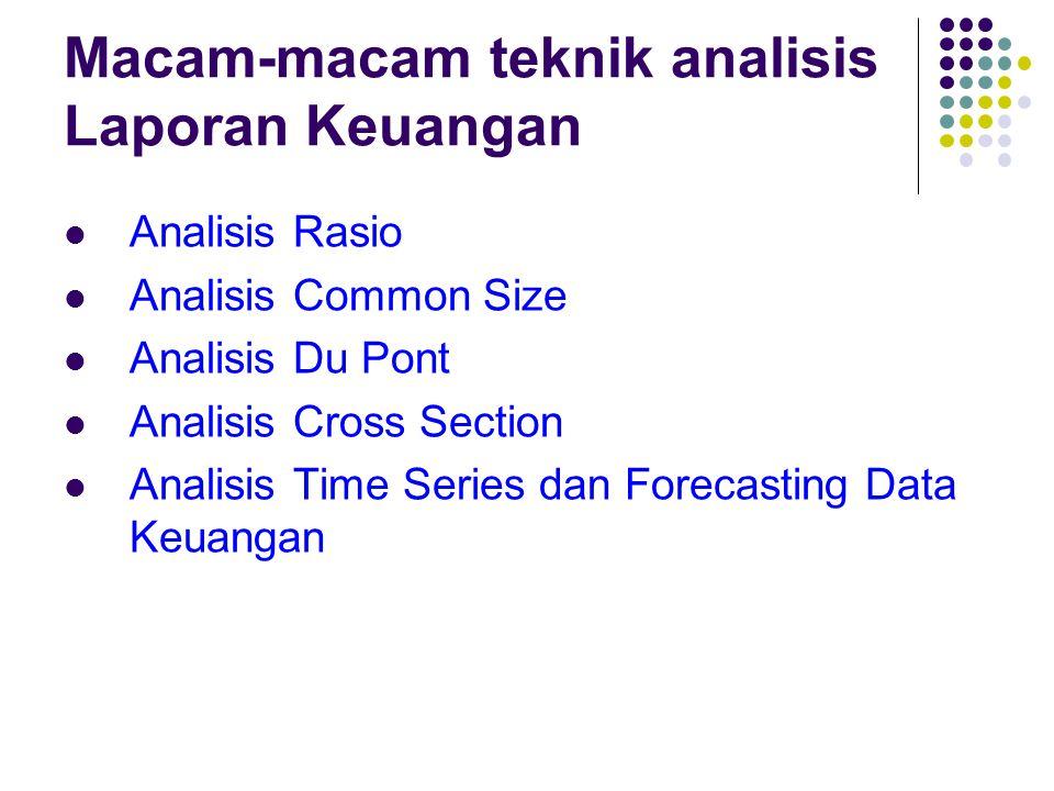 Macam-macam teknik analisis Laporan Keuangan Analisis Rasio Analisis Common Size Analisis Du Pont Analisis Cross Section Analisis Time Series dan Fore