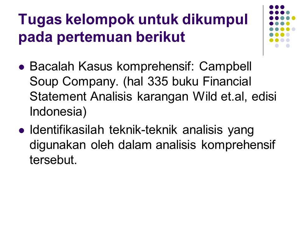 Tugas kelompok untuk dikumpul pada pertemuan berikut Bacalah Kasus komprehensif: Campbell Soup Company. (hal 335 buku Financial Statement Analisis kar