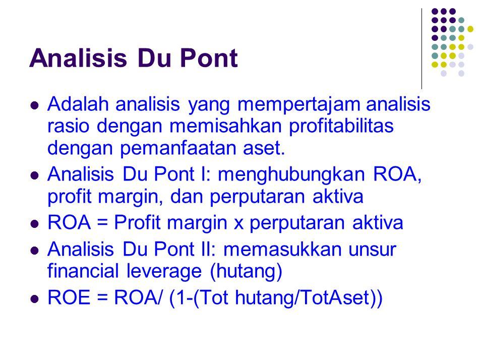 Analisis Du Pont Adalah analisis yang mempertajam analisis rasio dengan memisahkan profitabilitas dengan pemanfaatan aset. Analisis Du Pont I: menghub