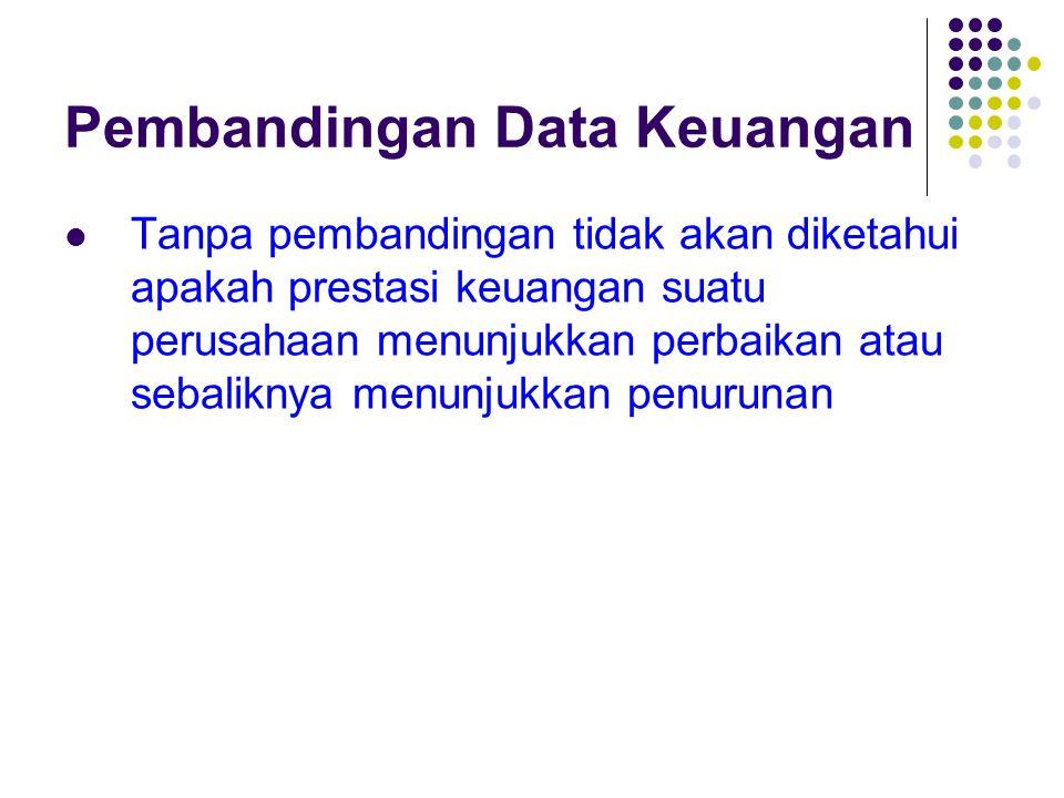 Pembandingan Data Keuangan Tanpa pembandingan tidak akan diketahui apakah prestasi keuangan suatu perusahaan menunjukkan perbaikan atau sebaliknya men