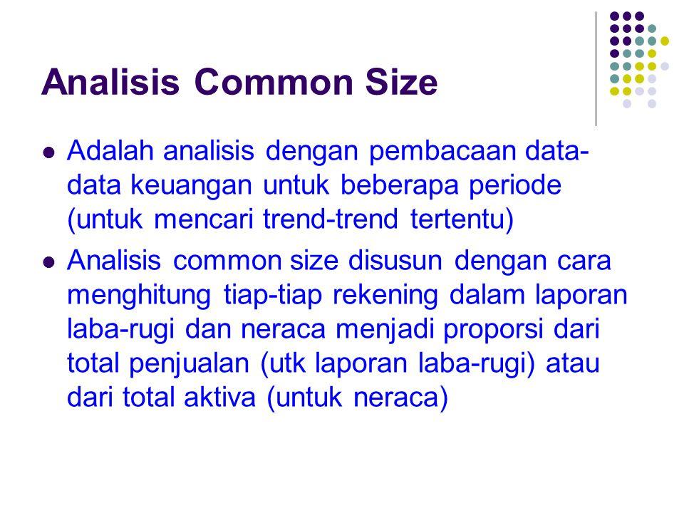 Analisis Common Size Adalah analisis dengan pembacaan data- data keuangan untuk beberapa periode (untuk mencari trend-trend tertentu) Analisis common