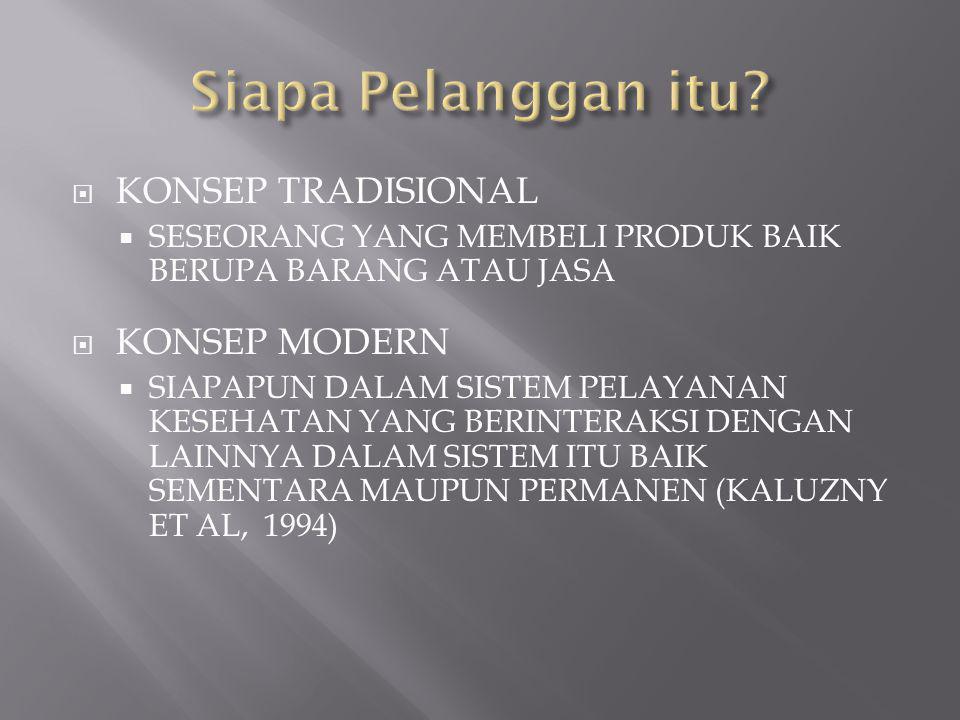  KONSEP TRADISIONAL  SESEORANG YANG MEMBELI PRODUK BAIK BERUPA BARANG ATAU JASA  KONSEP MODERN  SIAPAPUN DALAM SISTEM PELAYANAN KESEHATAN YANG BERINTERAKSI DENGAN LAINNYA DALAM SISTEM ITU BAIK SEMENTARA MAUPUN PERMANEN (KALUZNY ET AL, 1994)
