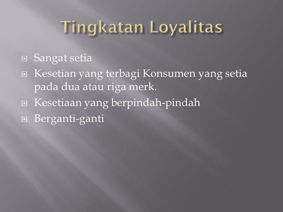  Sangat setia  Kesetian yang terbagi Konsumen yang setia pada dua atau riga merk.