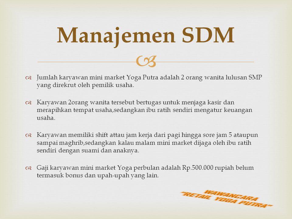   Jumlah karyawan mini market Yoga Putra adalah 2 orang wanita lulusan SMP yang direkrut oleh pemilik usaha.  Karyawan 2orang wanita tersebut bertu