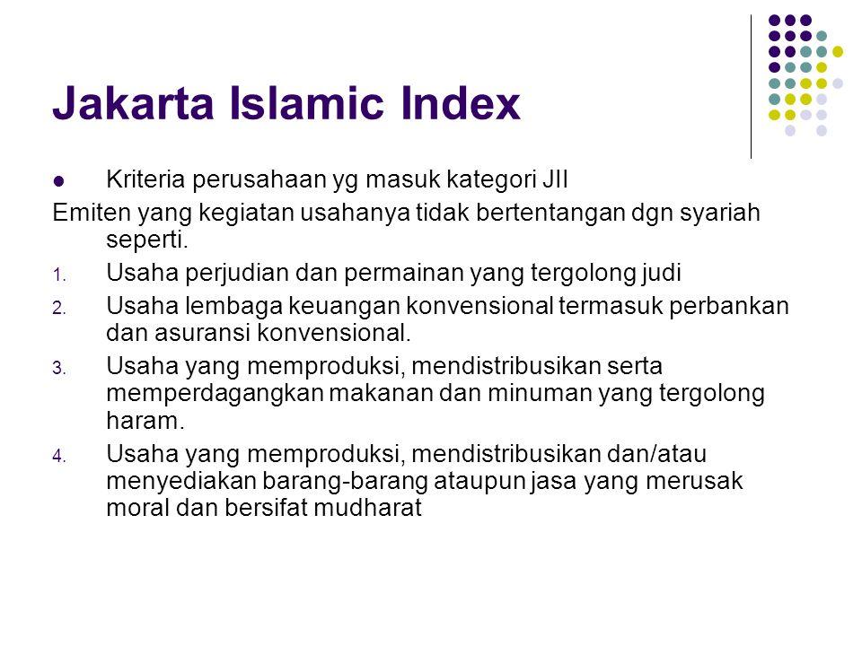 Jakarta Islamic Index Kriteria perusahaan yg masuk kategori JII Emiten yang kegiatan usahanya tidak bertentangan dgn syariah seperti.