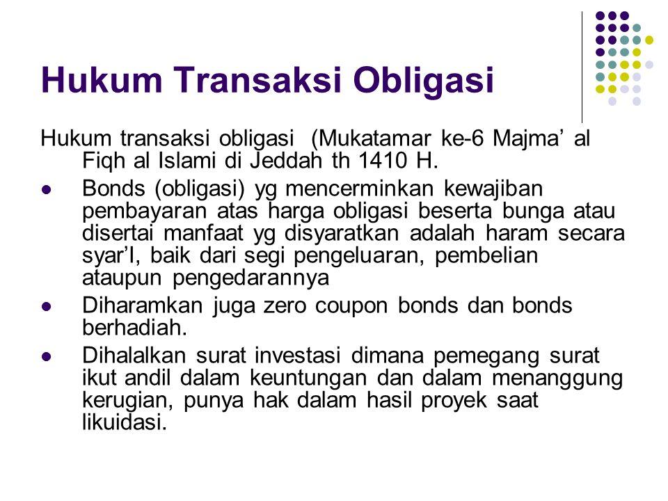 Hukum Transaksi Obligasi Hukum transaksi obligasi (Mukatamar ke-6 Majma' al Fiqh al Islami di Jeddah th 1410 H.