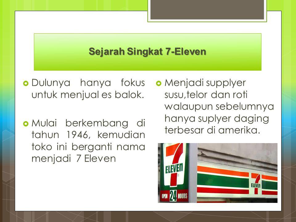 Sejarah Singkat 7-Eleven  Dulunya hanya fokus untuk menjual es balok.  Mulai berkembang di tahun 1946, kemudian toko ini berganti nama menjadi 7 Ele