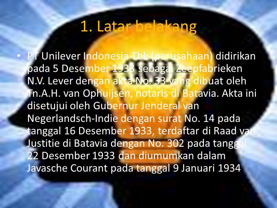 1. Latar belakang PT Unilever Indonesia Tbk (perusahaan) didirikan pada 5 Desember 1933 sebagai Zeepfabrieken N.V. Lever dengan akta No. 33 yang dibua