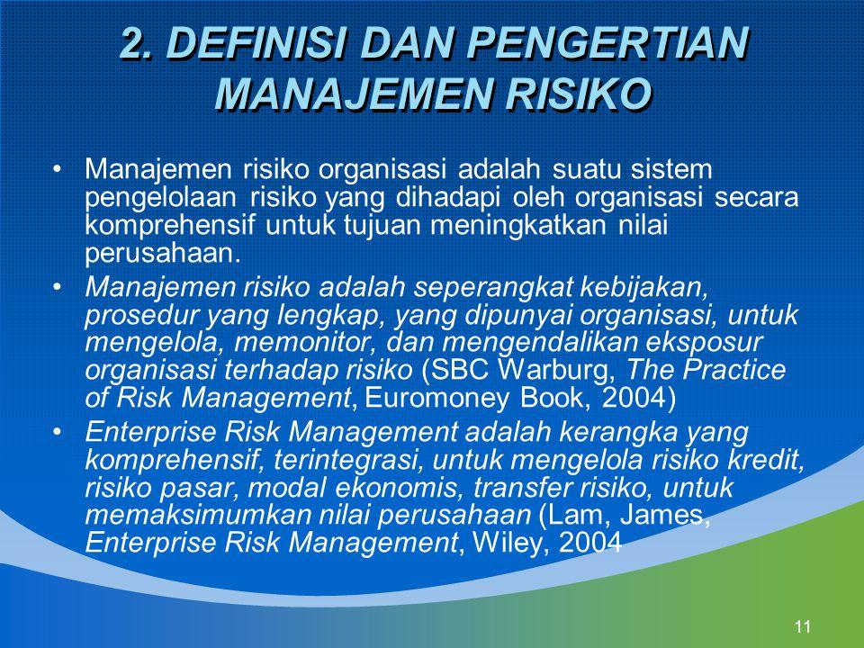 11 2. DEFINISI DAN PENGERTIAN MANAJEMEN RISIKO Manajemen risiko organisasi adalah suatu sistem pengelolaan risiko yang dihadapi oleh organisasi secara