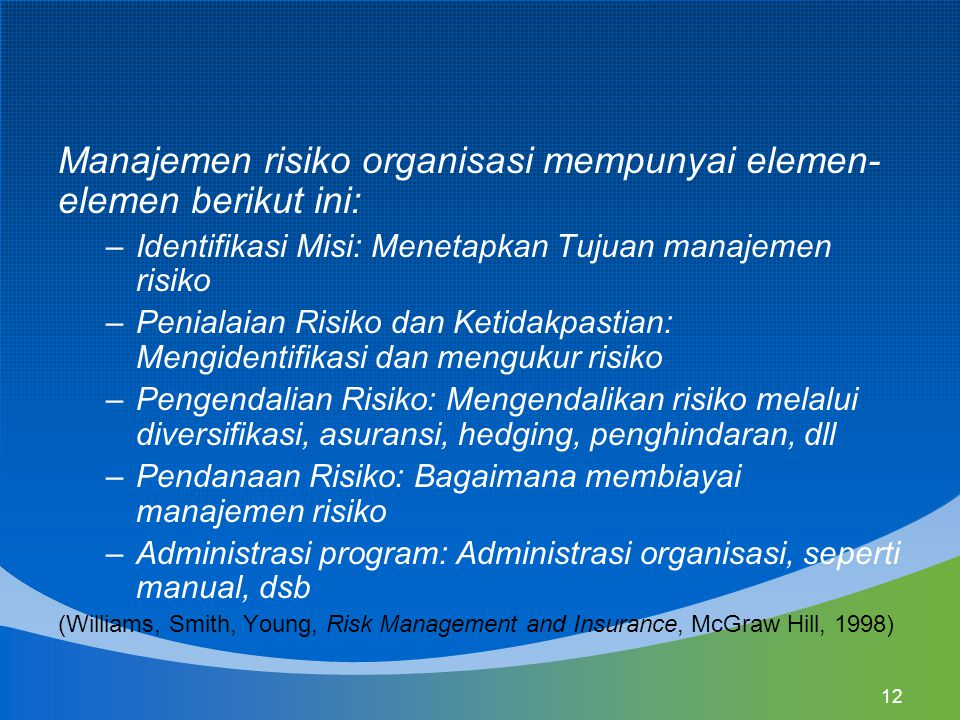 12 Manajemen risiko organisasi mempunyai elemen- elemen berikut ini: –Identifikasi Misi: Menetapkan Tujuan manajemen risiko –Penialaian Risiko dan Ket