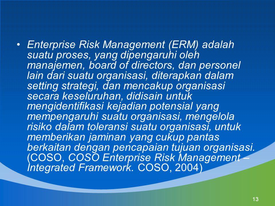 13 Enterprise Risk Management (ERM) adalah suatu proses, yang dipengaruhi oleh manajemen, board of directors, dan personel lain dari suatu organisasi,
