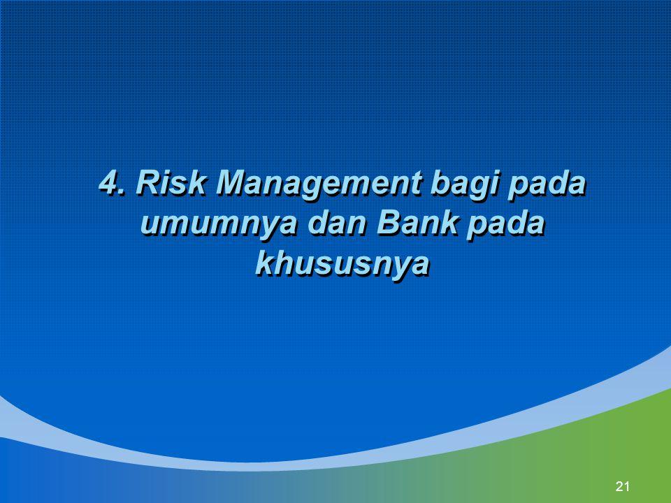 21 4. Risk Management bagi pada umumnya dan Bank pada khususnya