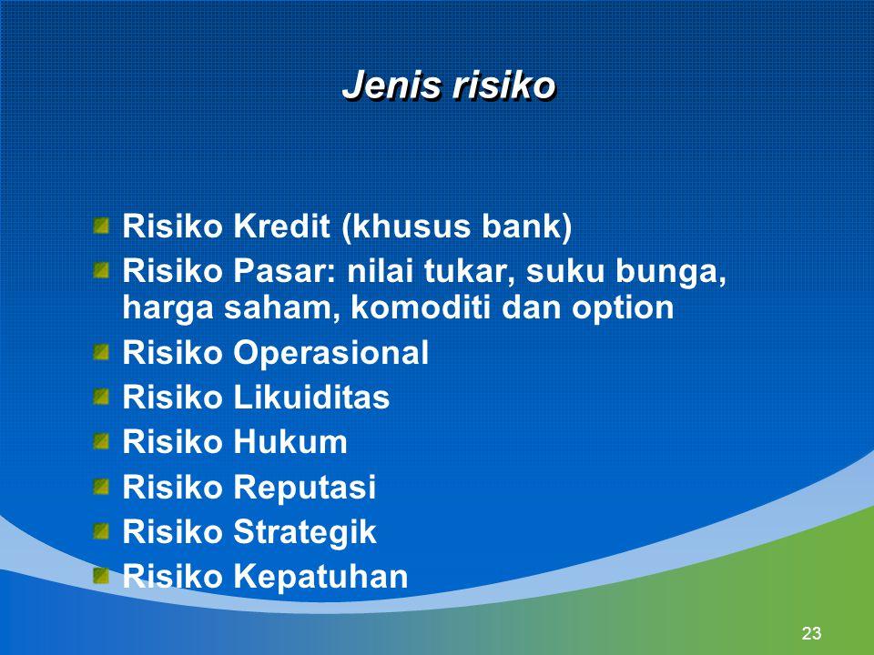 23 Jenis risiko Risiko Kredit (khusus bank) Risiko Pasar: nilai tukar, suku bunga, harga saham, komoditi dan option Risiko Operasional Risiko Likuidit