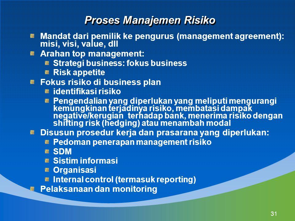 31 Proses Manajemen Risiko Mandat dari pemilik ke pengurus (management agreement): misi, visi, value, dll Arahan top management: Strategi business: fo