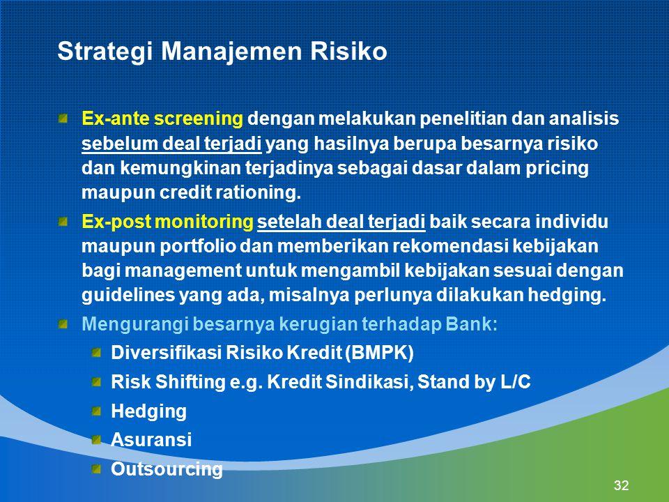 32 Strategi Manajemen Risiko Ex-ante screening dengan melakukan penelitian dan analisis sebelum deal terjadi yang hasilnya berupa besarnya risiko dan