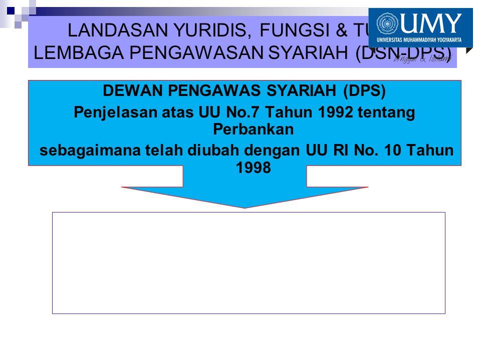 LANDASAN YURIDIS, FUNGSI & TUGAS LEMBAGA PENGAWASAN SYARIAH (DSN-DPS) DEWAN PENGAWAS SYARIAH (DPS) Penjelasan atas UU No.7 Tahun 1992 tentang Perbanka