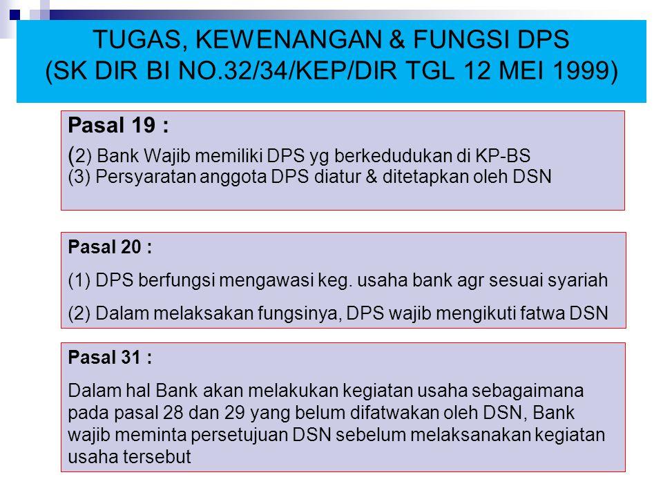 TUGAS, KEWENANGAN & FUNGSI DPS (SK DIR BI NO.32/34/KEP/DIR TGL 12 MEI 1999) Pasal 19 : ( 2) Bank Wajib memiliki DPS yg berkedudukan di KP-BS (3) Persy