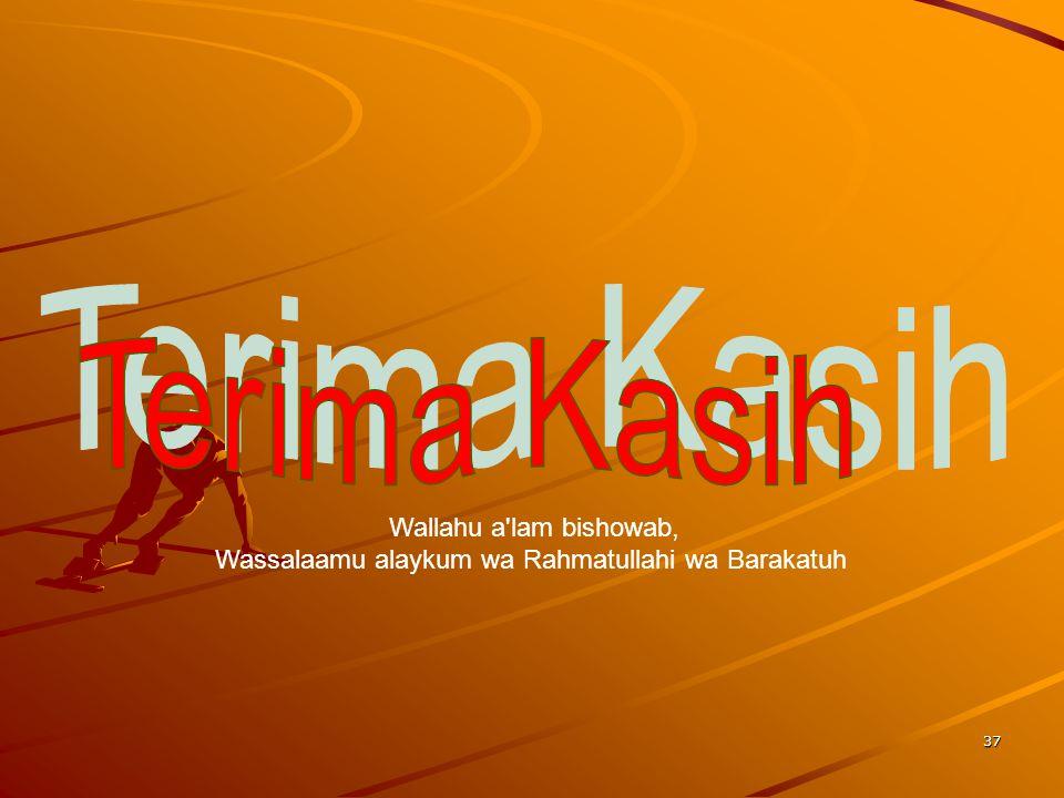 37 Wallahu a'lam bishowab, Wassalaamu alaykum wa Rahmatullahi wa Barakatuh