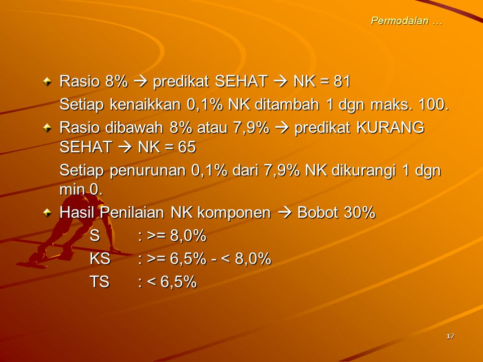 18 PERHITUNGAN ATMR BOBOTRESIKO 1 Kas *) 0% 2 Sertifikat Bank Indonesia (SBI) 0% 3 Kredit yg dijamin dengan uang kas, valas, emas, mata uang emas serta deposito berjangka dan tabungan pada bank ybs.