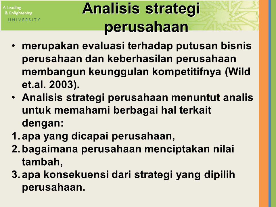 A Leading & Enlightening U N I V E R S I T Y Analisis strategi perusahaan merupakan evaluasi terhadap putusan bisnis perusahaan dan keberhasilan perus