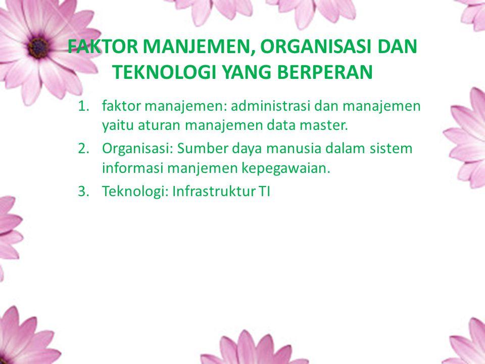 FAKTOR MANJEMEN, ORGANISASI DAN TEKNOLOGI YANG BERPERAN 1.faktor manajemen: administrasi dan manajemen yaitu aturan manajemen data master. 2.Organisas