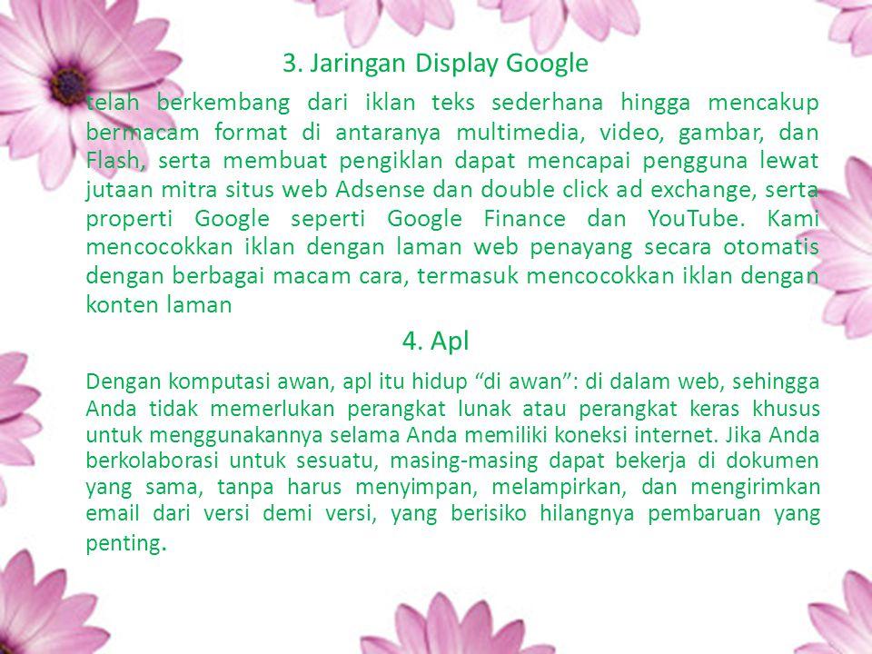 3. Jaringan Display Google telah berkembang dari iklan teks sederhana hingga mencakup bermacam format di antaranya multimedia, video, gambar, dan Flas