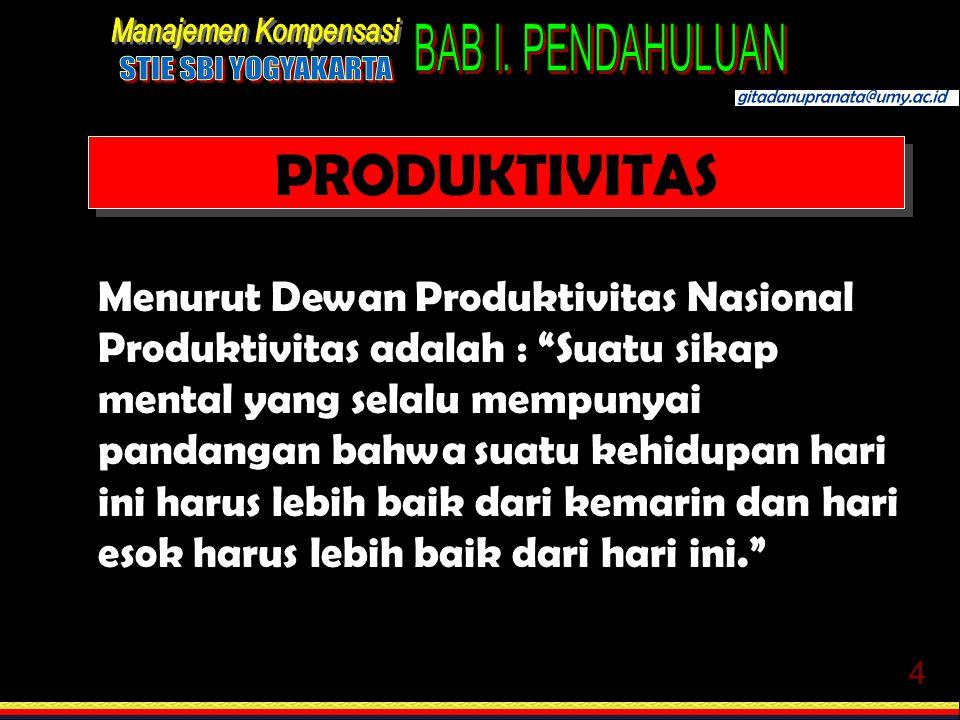 """4 PRODUKTIVITAS Menurut Dewan Produktivitas Nasional Produktivitas adalah : """"Suatu sikap mental yang selalu mempunyai pandangan bahwa suatu kehidupan"""