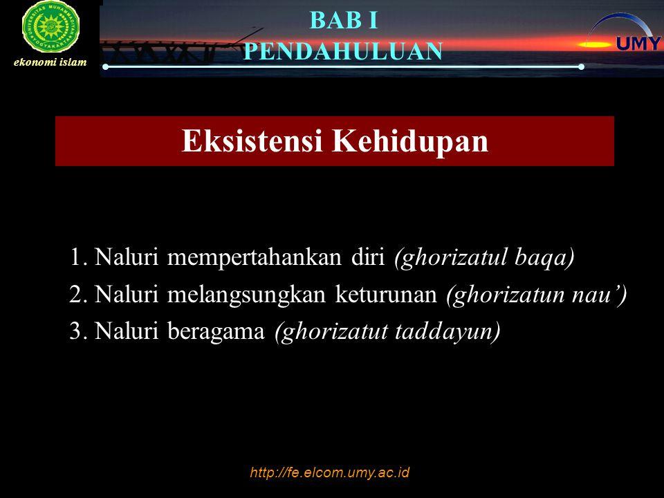 http://fe.elcom.umy.ac.id BAB I PENDAHULUAN ekonomi islam Eksistensi Kehidupan 1. Naluri mempertahankan diri (ghorizatul baqa) 2. Naluri melangsungkan