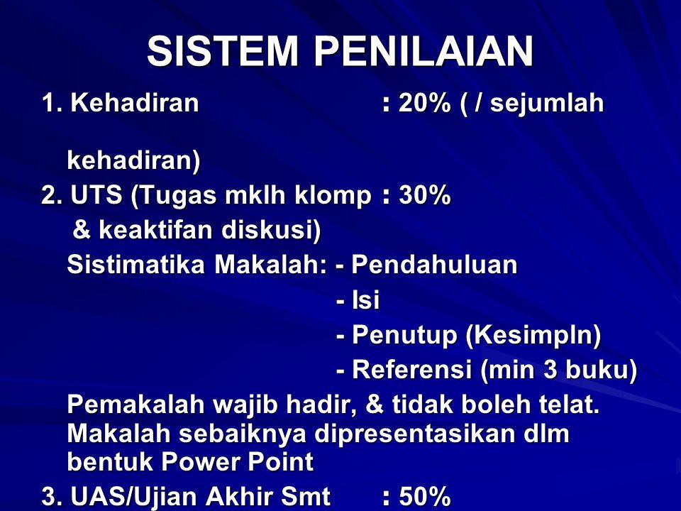 SISTEM PENILAIAN 1. Kehadiran: 20% ( / sejumlah kehadiran) 2. UTS (Tugas mklh klomp: 30% & keaktifan diskusi) & keaktifan diskusi) Sistimatika Makalah