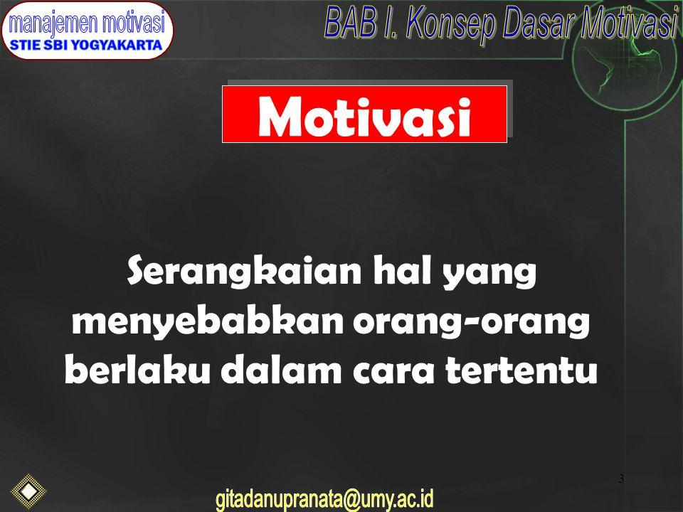 3 Motivasi Serangkaian hal yang menyebabkan orang-orang berlaku dalam cara tertentu