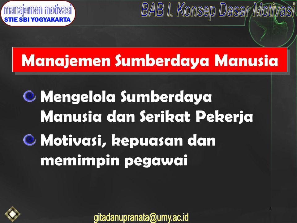 4 Manajemen Sumberdaya Manusia Mengelola Sumberdaya Manusia dan Serikat Pekerja Motivasi, kepuasan dan memimpin pegawai